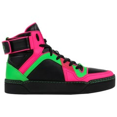 GUCCI Black Neon Green Pink Black Leather High Top Sneakers