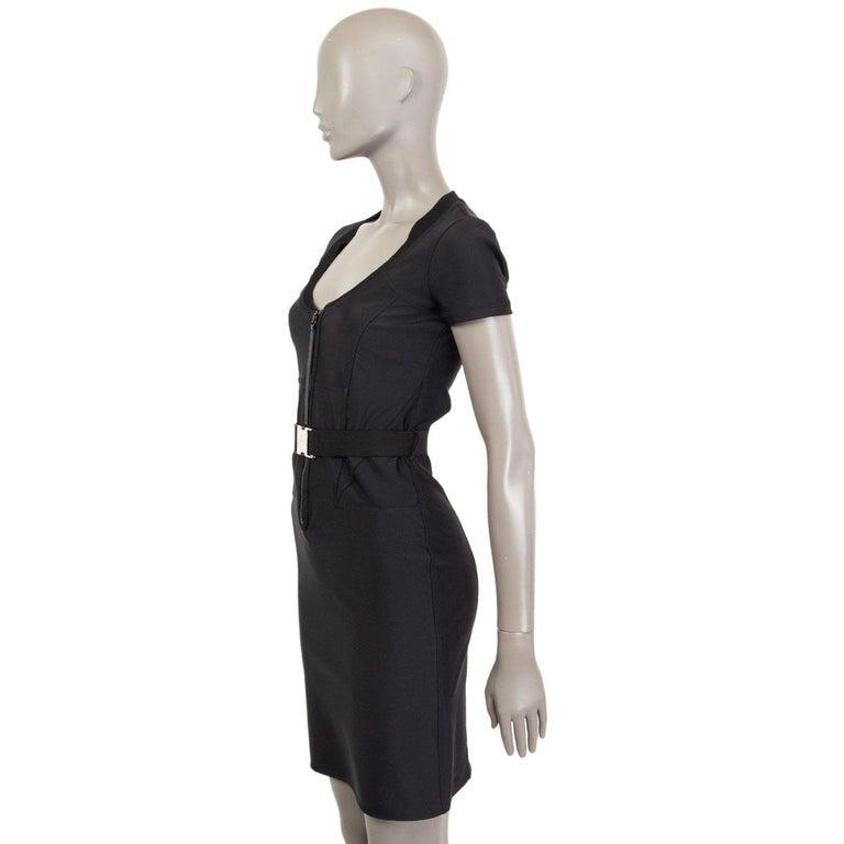 Black GUCCI black neoprene BELTED ZIP FRONT Dress 4 XS For Sale