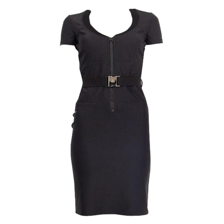 GUCCI black neoprene BELTED ZIP FRONT Dress 4 XS For Sale