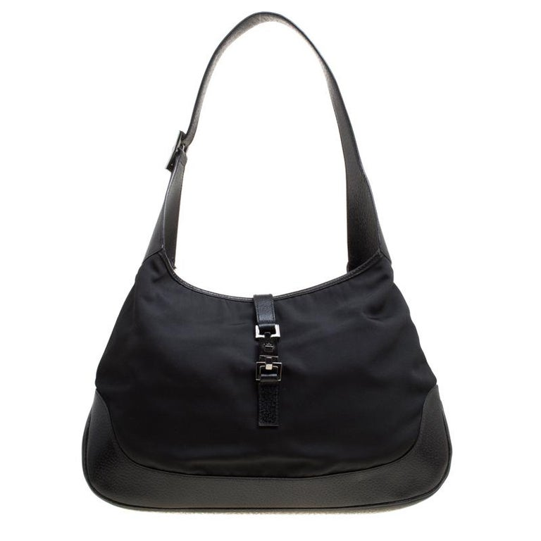 1eef8a2c71e5 Gucci Black Nylon And Leather Jackie Hobo For Sale at 1stdibs