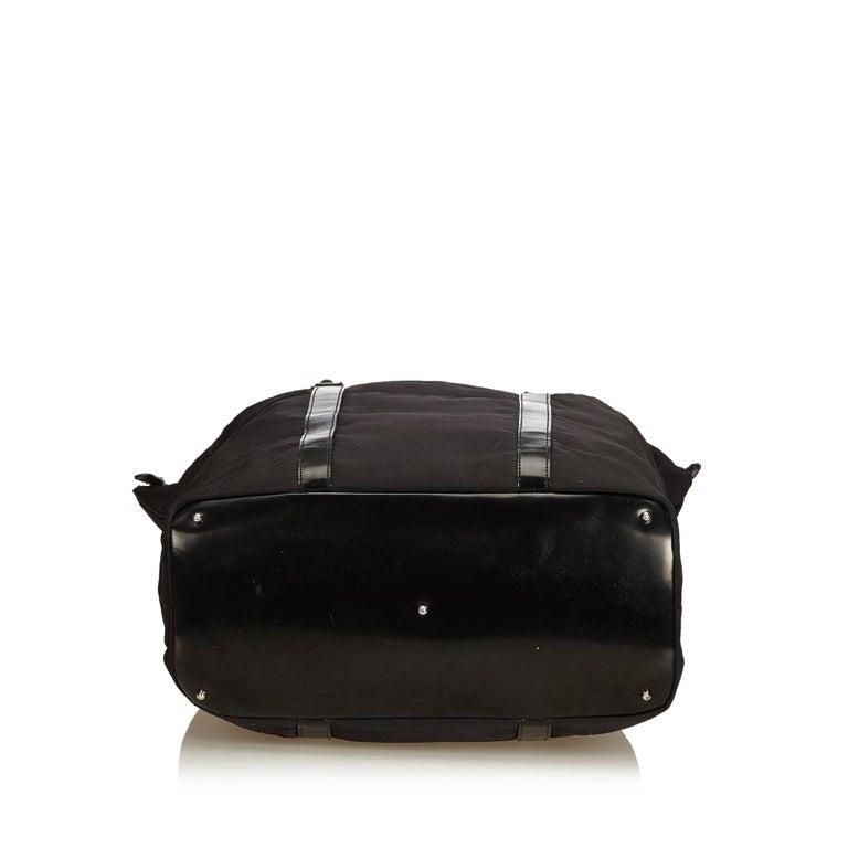 Women's Gucci Black Nylon Bamboo Handbag For Sale