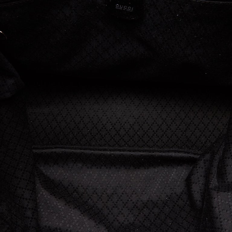 Gucci Black Nylon Bamboo Handbag For Sale 1