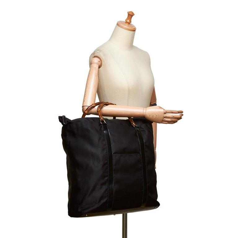 Gucci Black Nylon Bamboo Handbag For Sale 5