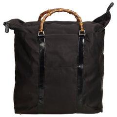 Gucci Black Nylon Bamboo Handbag
