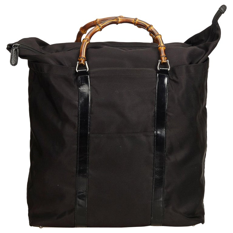 Gucci Black Nylon Bamboo Handbag For Sale