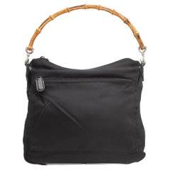 Gucci Black Nylon Bamboo Handle Bag