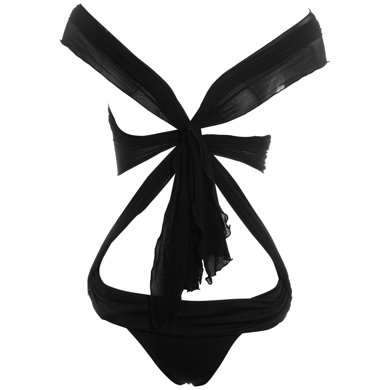 Gucci black nylon tie-up bodysuit, ss 2005