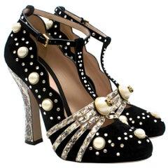 Gucci Black Ofelia Suede Crystal Pearl Python Pumps SIZE 38