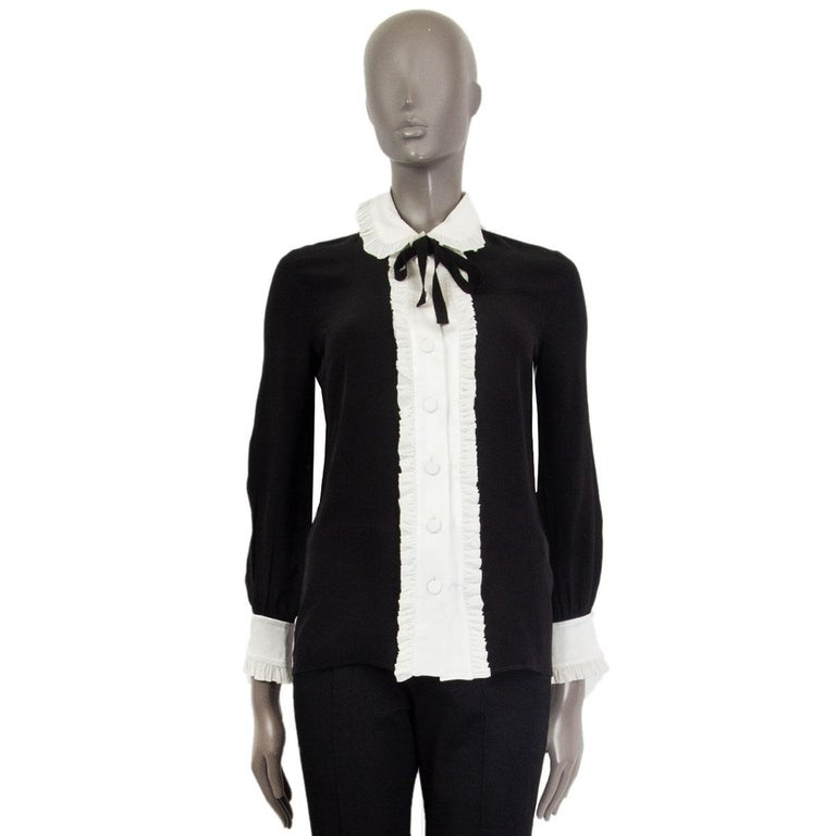 Black GUCCI black & off-white silk RUFFLED BOW Blouse Shirt 38 XS For Sale