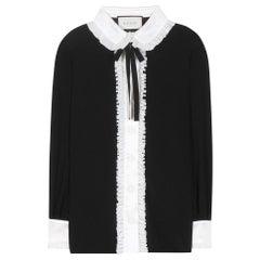 GUCCI black & off-white silk RUFFLED BOW Blouse Shirt 38 XS