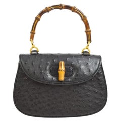 Gucci Black Ostrich Bamboo Exotic Kelly Style Top Handle Satchel Shoulder Bag
