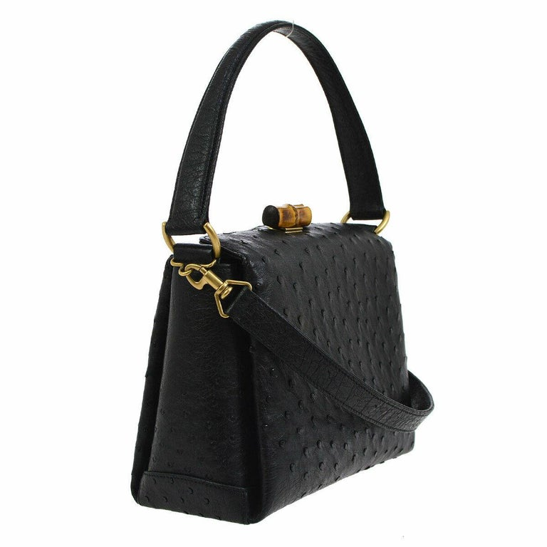 f4daa9477 Gucci Black Ostrich Bamboo Mini Kelly Style Top Handle Satchel Shoulder Bag  In Good Condition For