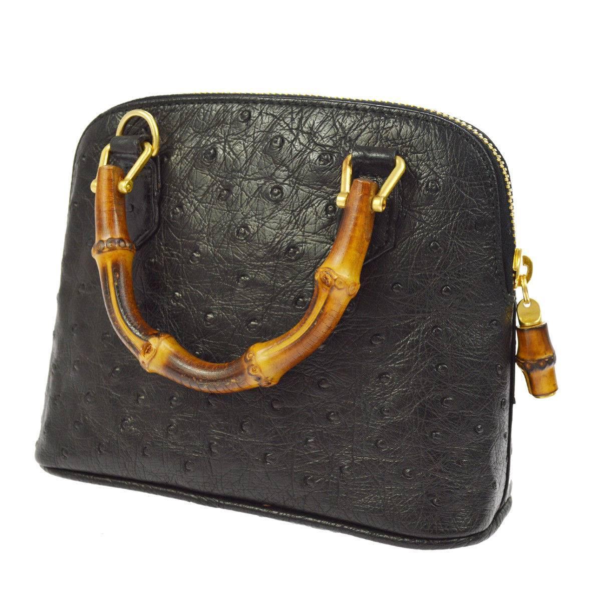 Gucci Black Ostrich Leather Bamboo Gold Mini Top Handle Satchel Shoulder Bag m0Eukp2f