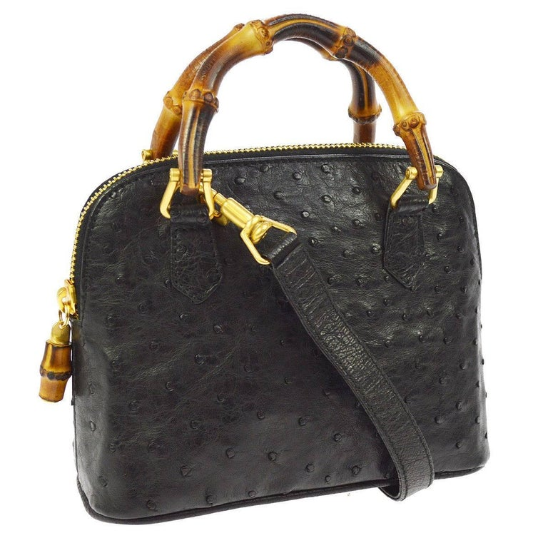 GUCCI Black Ostrich Leather Bamboo Gold Mini Top Handle Satchel Shoulder Bag