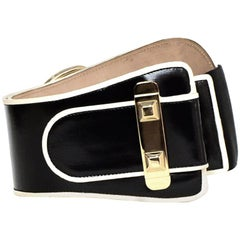 Gucci Black Patent Belt w/ White Trim & Large Buckle sz 32 rt $595