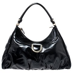 Gucci Black Patent Leather Abbey D-Ring Shoulder Bag