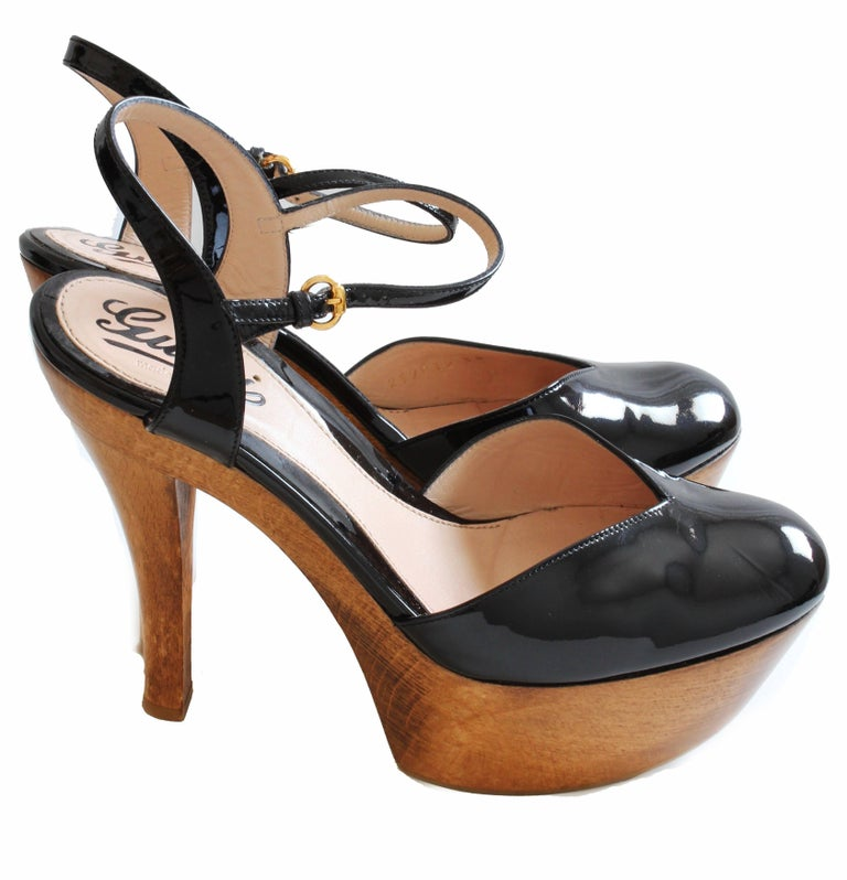 Brown Gucci Platform Shoes Black Patent Leather Ankle Strap Wood Heel in Box sz 38  For Sale