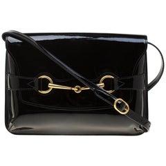 Gucci Black Patent Leather Bright Bit Shoulder Bag