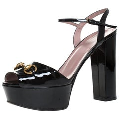 Gucci Black Patent Leather Claudie Horsebit Peep Toe Platform Sandals Size 40