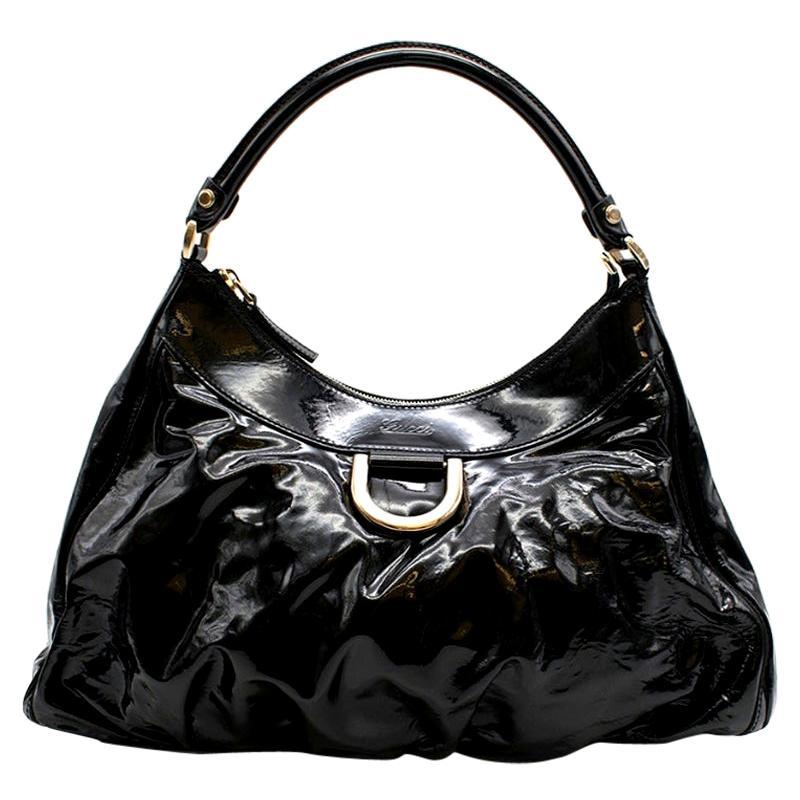 Gucci Black Patent Leather Hobo Shoulder Bag 42cm