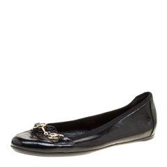 Gucci Black Patent Leather Horsebit Ballet Flats Size 37.5