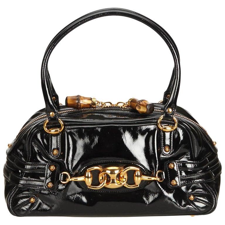 b6f1b4269394 Gucci Black Patent Leather Horsebit Wave Shoulder Bag For Sale at ...