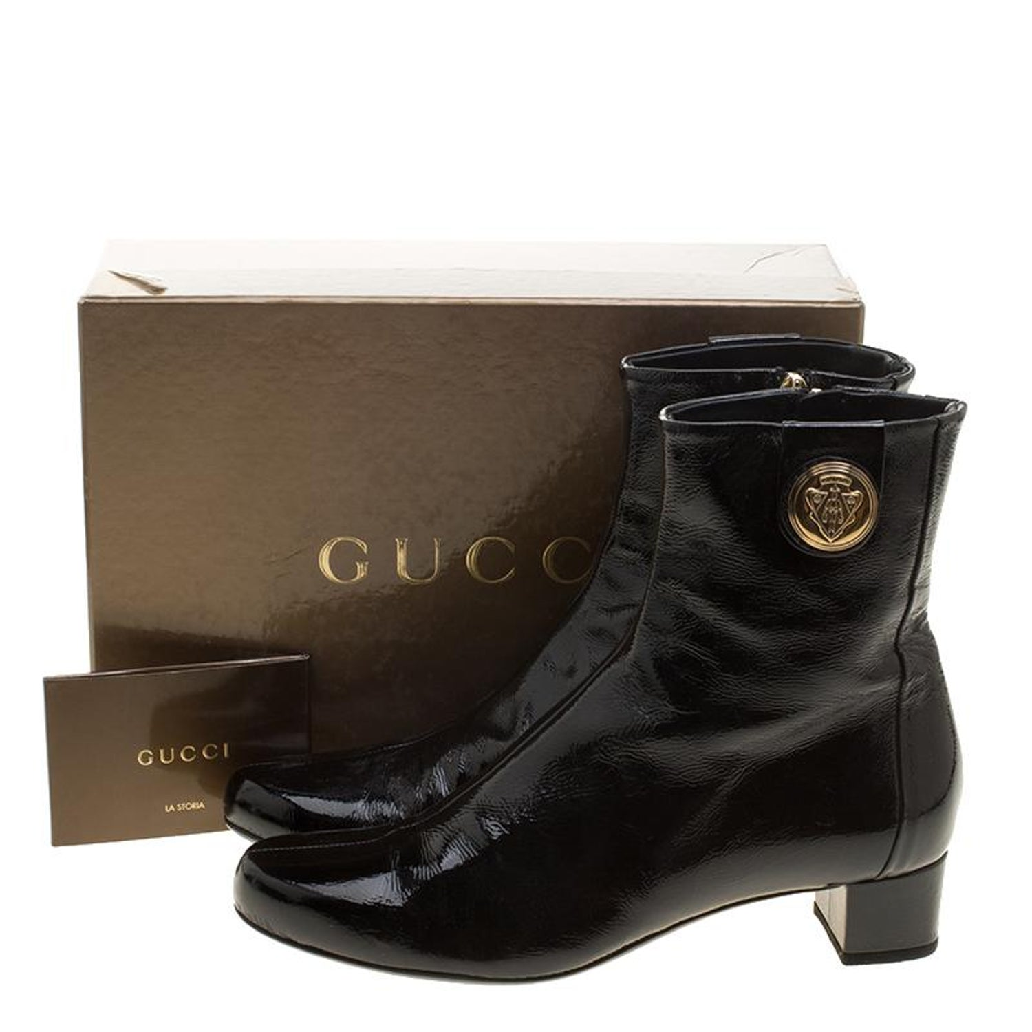 61617a397 Gucci Black Patent Leather Hysteria Ankle Boots Size 38 For Sale at 1stdibs