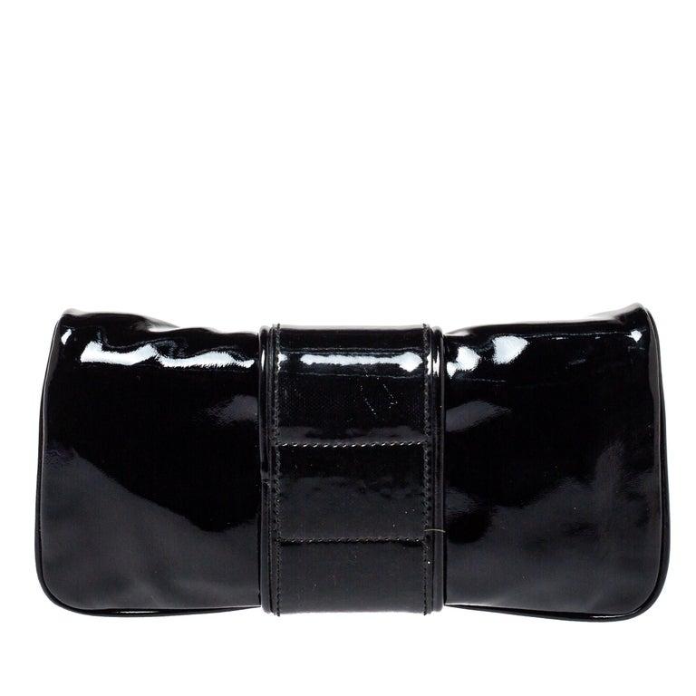 Women's Gucci Black Patent Leather Hysteria Clutch For Sale