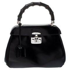 Gucci Black Patent Leather Lady Lock Bamboo Top Handle Bag