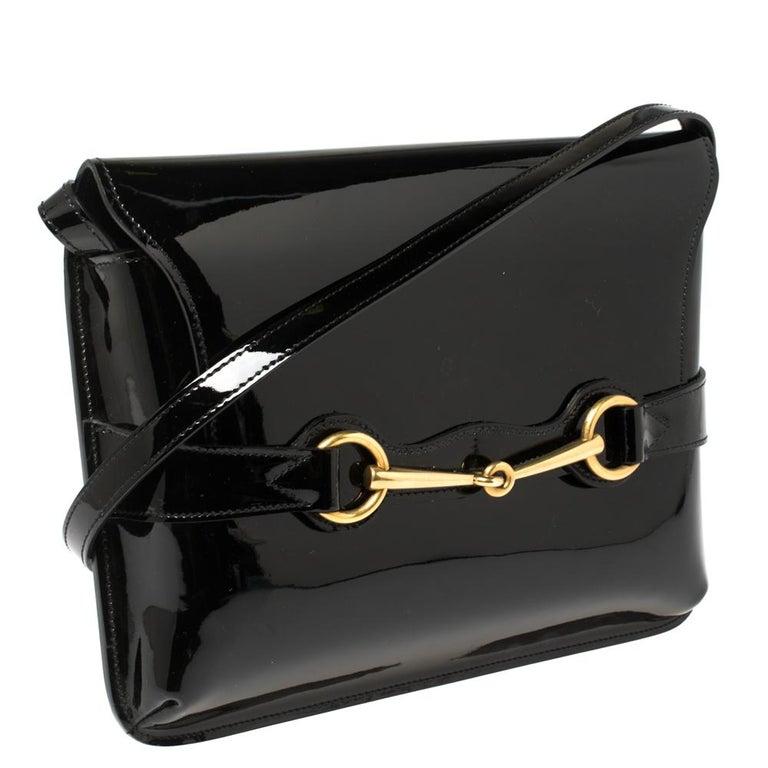 Gucci Black Patent Leather Large Bright Bit Shoulder Bag In Good Condition For Sale In Dubai, Al Qouz 2