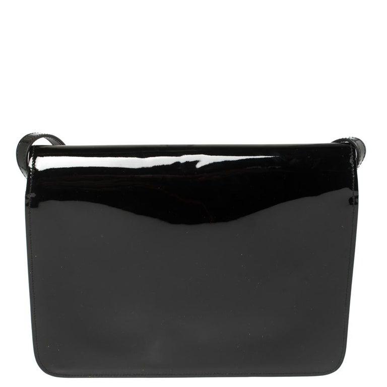 Women's Gucci Black Patent Leather Large Bright Bit Shoulder Bag For Sale