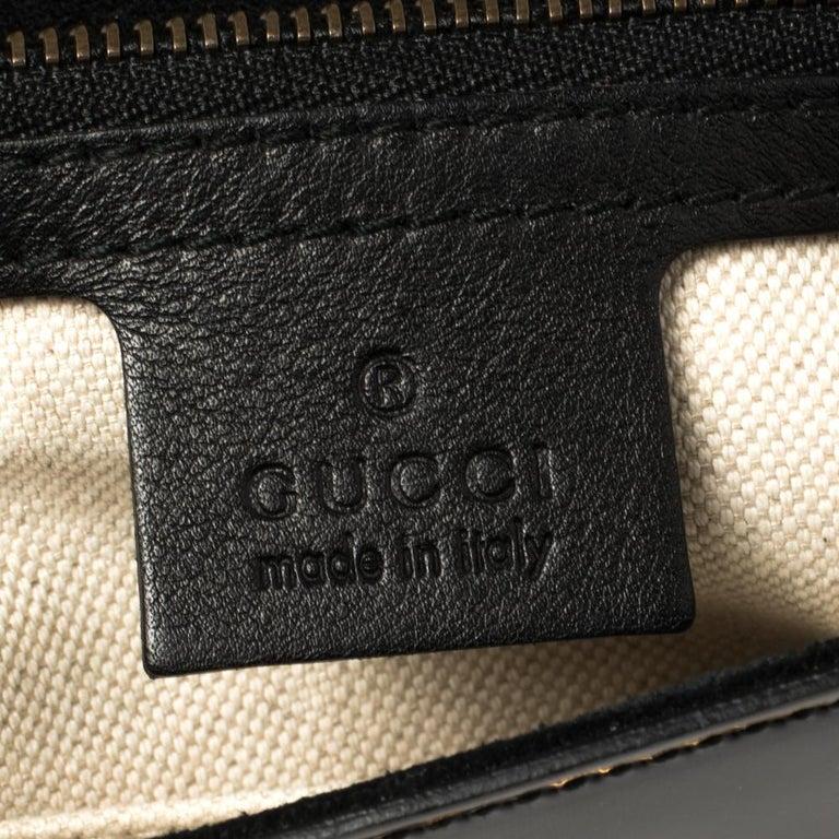 Gucci Black Patent Leather Large Bright Bit Shoulder Bag For Sale 1