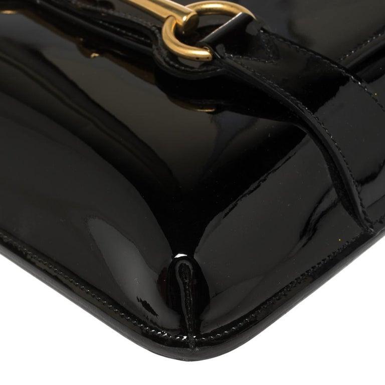 Gucci Black Patent Leather Large Bright Bit Shoulder Bag For Sale 4