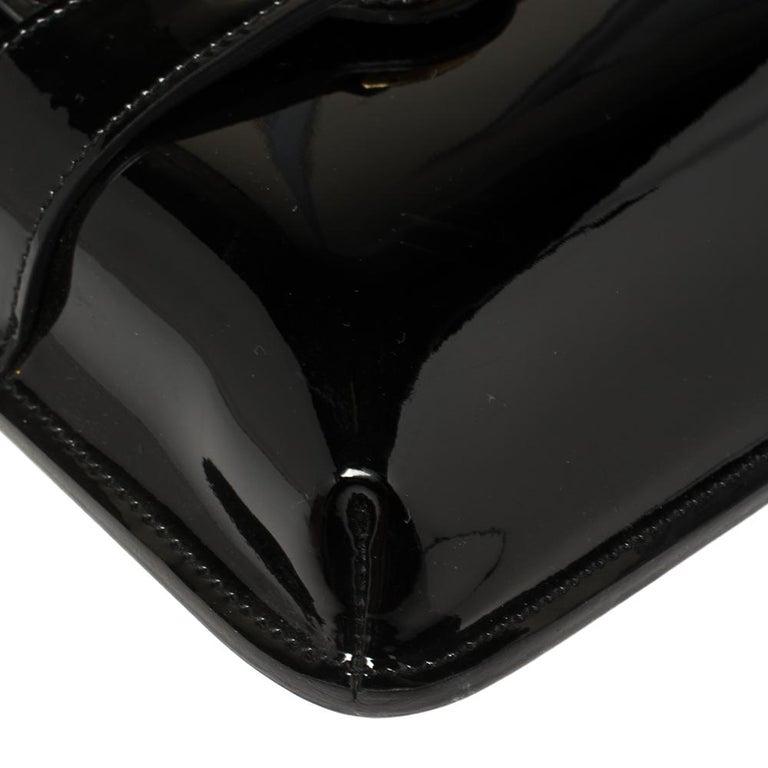 Gucci Black Patent Leather Large Bright Bit Shoulder Bag For Sale 5