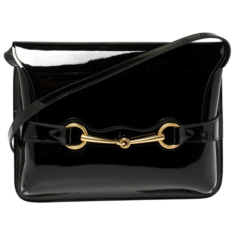 Gucci Black Patent Leather Large Bright Bit Shoulder Bag For Sale