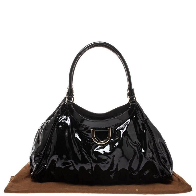 Gucci Black Patent Leather Large D Ring Hobo For Sale 8