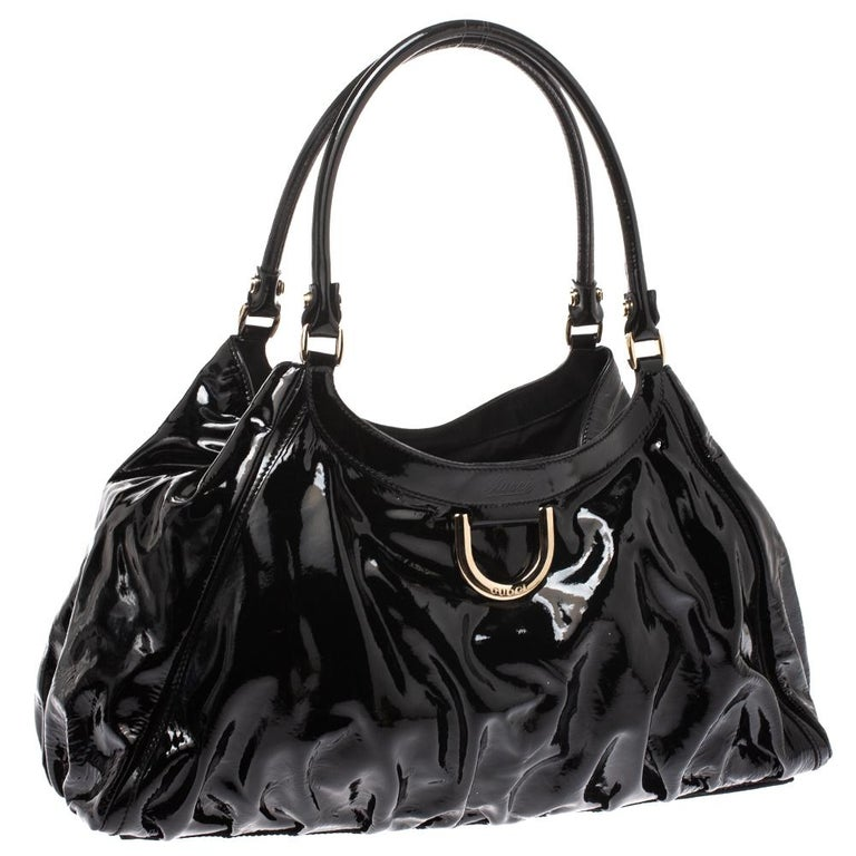 Women's Gucci Black Patent Leather Large D Ring Hobo For Sale