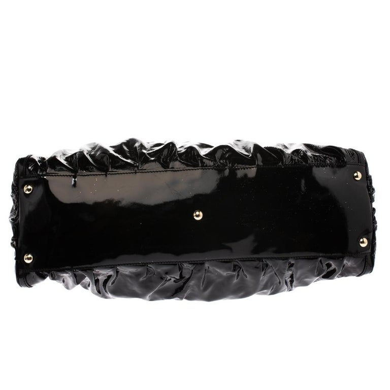 Gucci Black Patent Leather Large D Ring Hobo For Sale 1