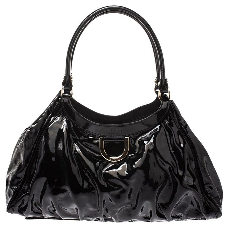 Gucci Black Patent Leather Large D Ring Hobo For Sale