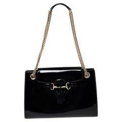 Gucci Black Patent Leather Large Emily Chain Shoulder Bag