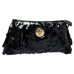 Gucci Black Patent Leather Large Hysteria Clutch