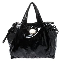 Gucci Black Patent Leather Large Hysteria Hobo