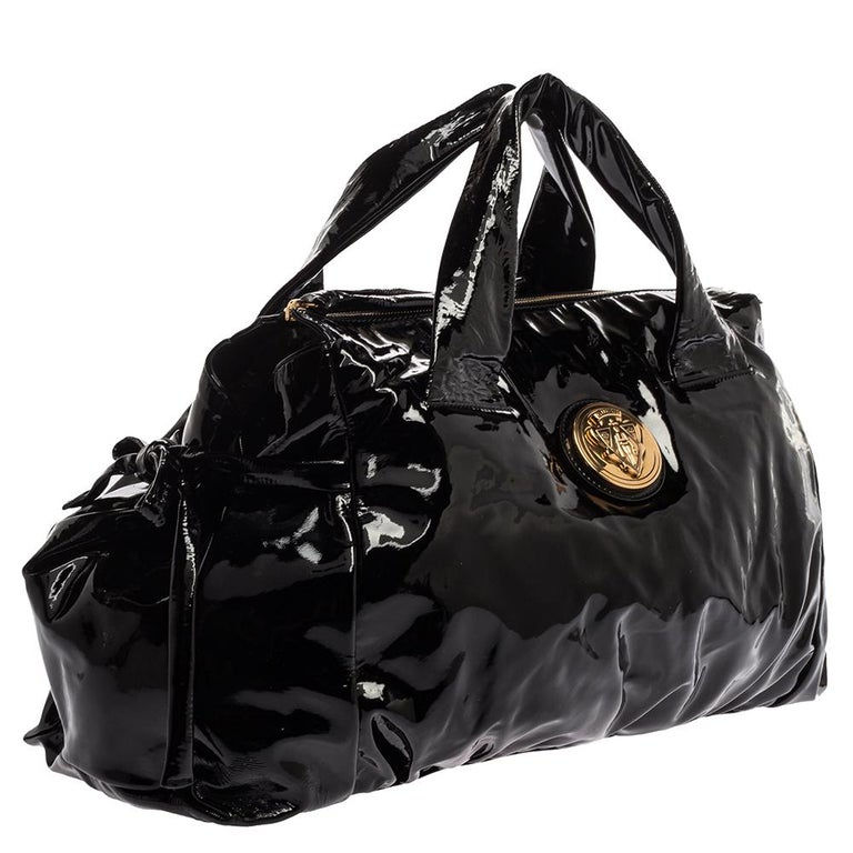 Women's Gucci Black Patent Leather Large Hysteria Tote For Sale