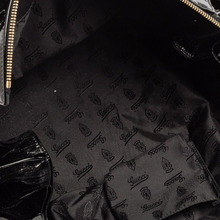 Gucci Black Patent Leather Large Hysteria Tote For Sale 2