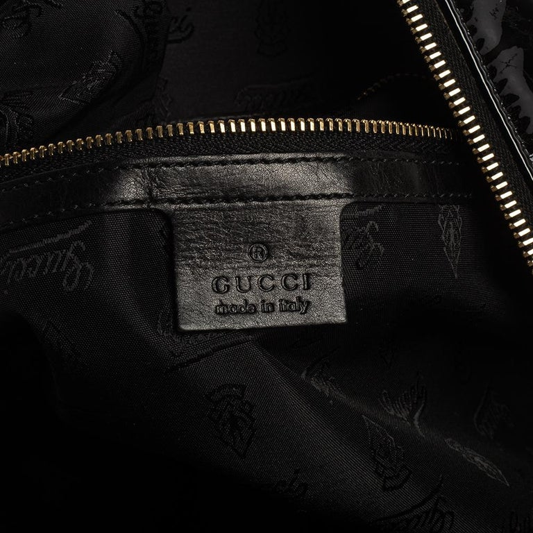 Gucci Black Patent Leather Large Hysteria Tote For Sale 3