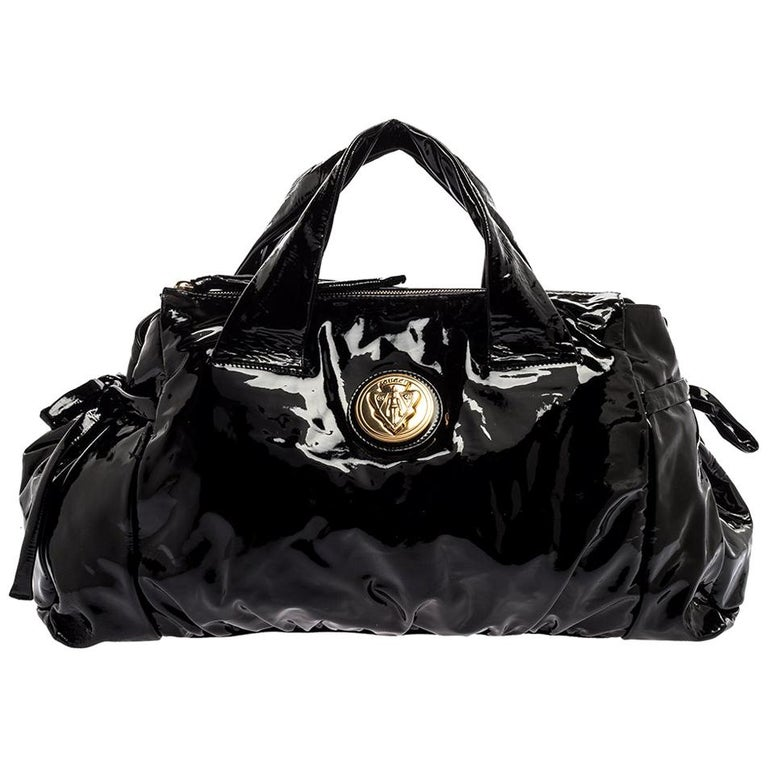 Gucci Black Patent Leather Large Hysteria Tote For Sale
