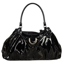 Gucci Black Patent Leather Leather Abbey D-Ring Shoulder Bag Italy