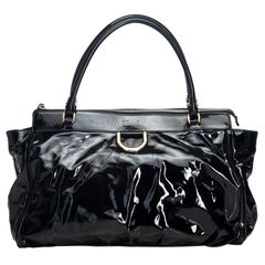 Gucci Black Patent Leather Leather Abbey Handbag Italy