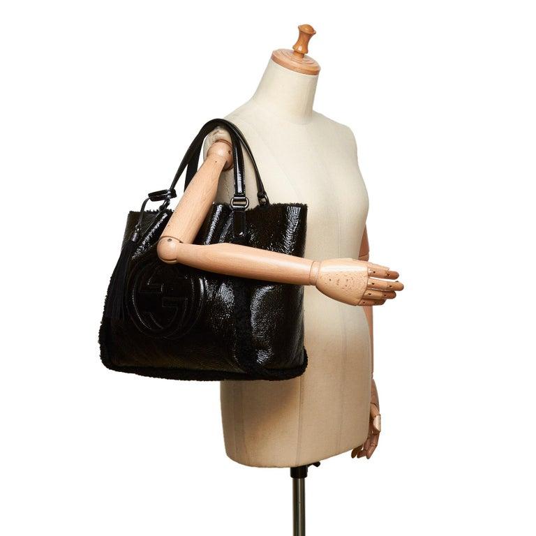 Gucci Black Patent Leather Leather Soho Cellarius Mouton Tote Italy 6