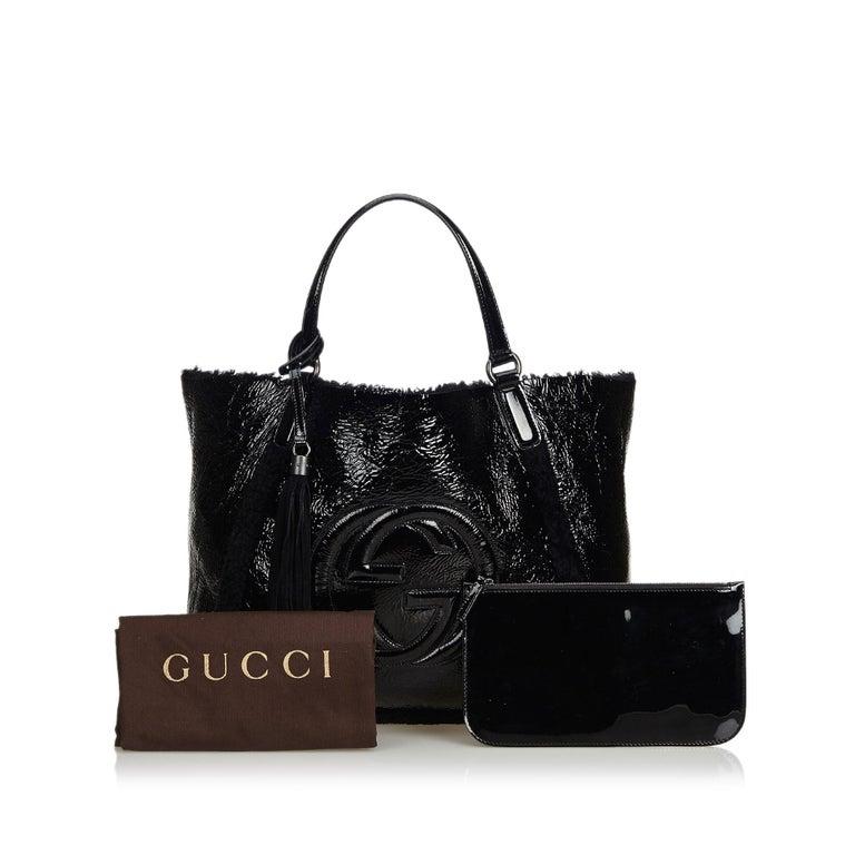 Gucci Black Patent Leather Leather Soho Cellarius Mouton Tote Italy 7